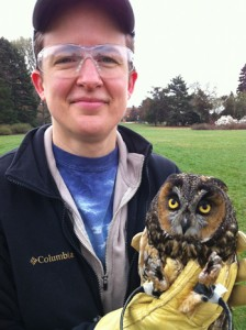 Liz with long-eared owl