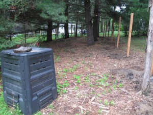 Compost bin on the southeast side of the yard