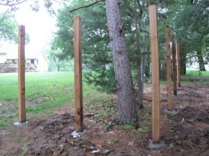 Utility easement required us to divert the fence a bit into the trees.